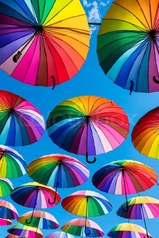 Rainbow umbrella colorful rainbow, stock photo