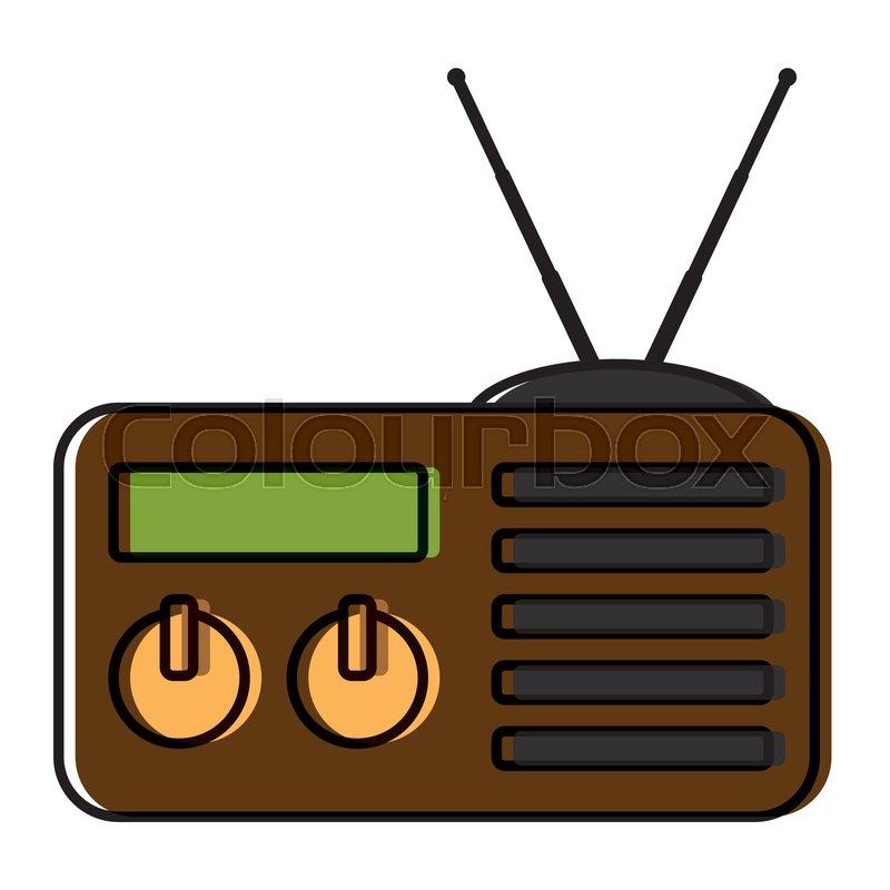 Old Radio Stereo Icon Vector Stock Vector Colourbox