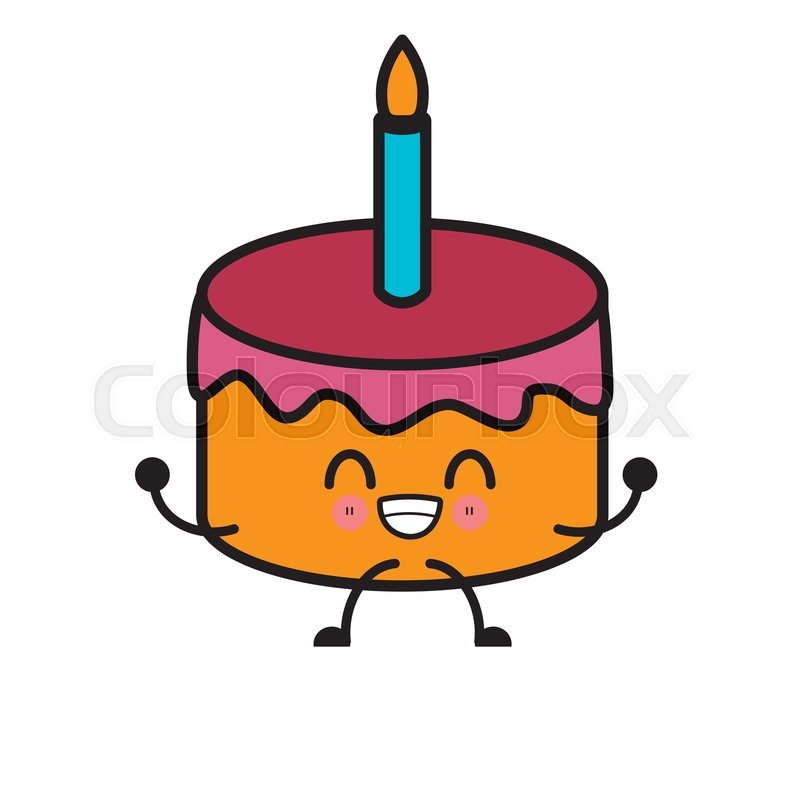 Excellent Birthday Cake Isolated Cute Kawaii Stock Vector Colourbox Funny Birthday Cards Online Eattedamsfinfo