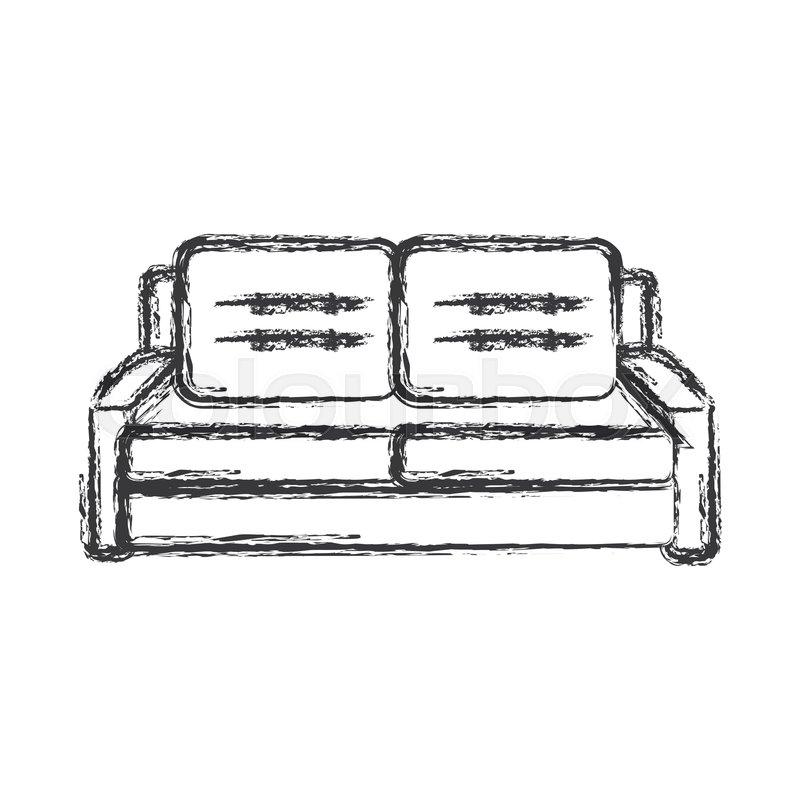 Sofa Furniture Comfort Sketch Vector Stock Vector