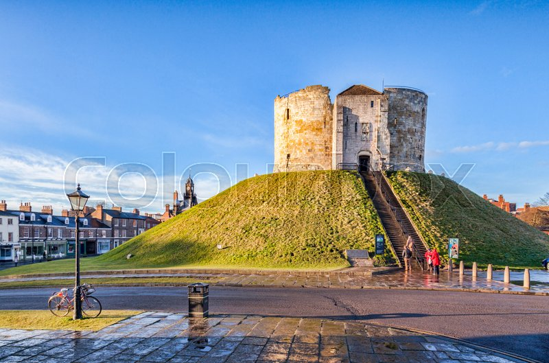 Editorial image of '29 January 2015: York, North Yorkshire, England, UK - Sunshine after snow Cliffords Tower'