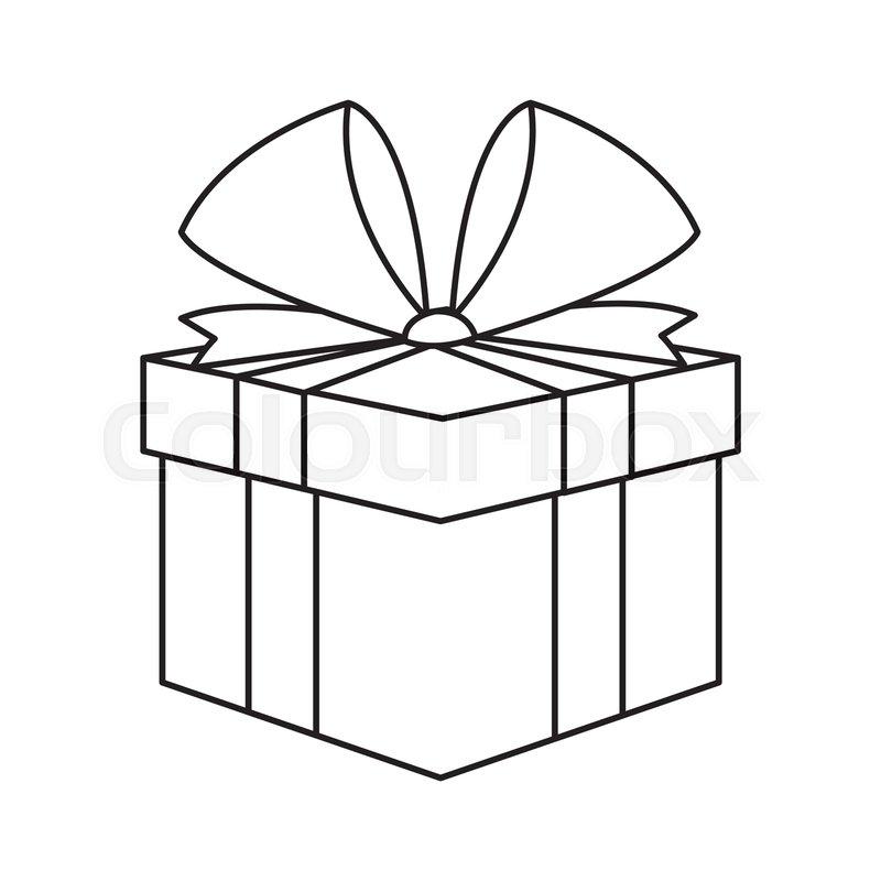 Christmas Gift Box Drawing.Christmas Present Box Gift Ribbon Stock Vector Colourbox