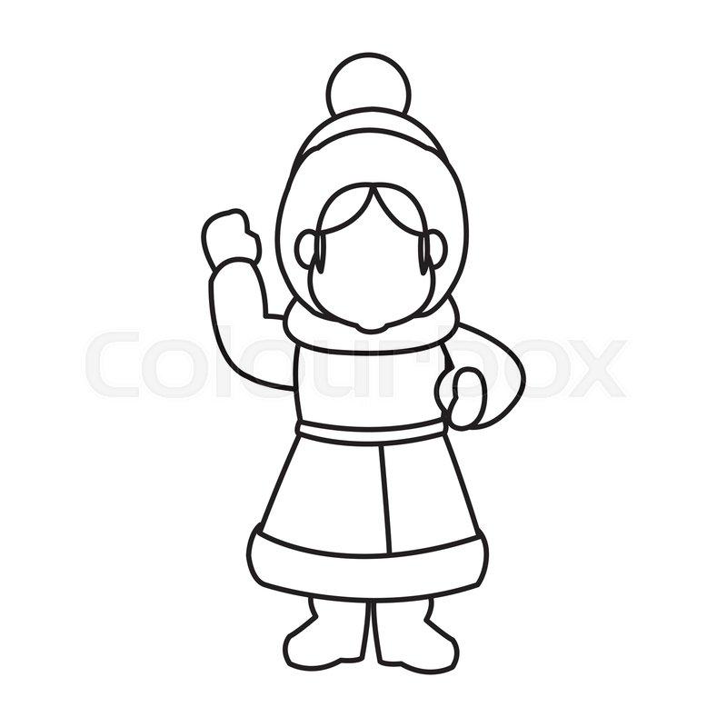 Cartoon Woman Christmas Song Winter Stock Vector Colourbox
