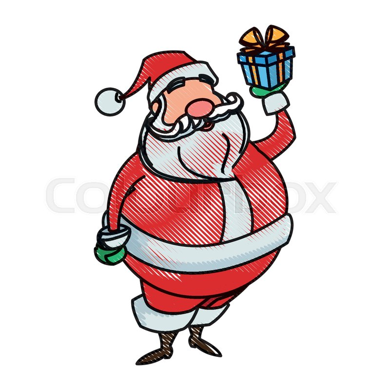 Drawing Santa Claus Christmas Stock Vector Colourbox