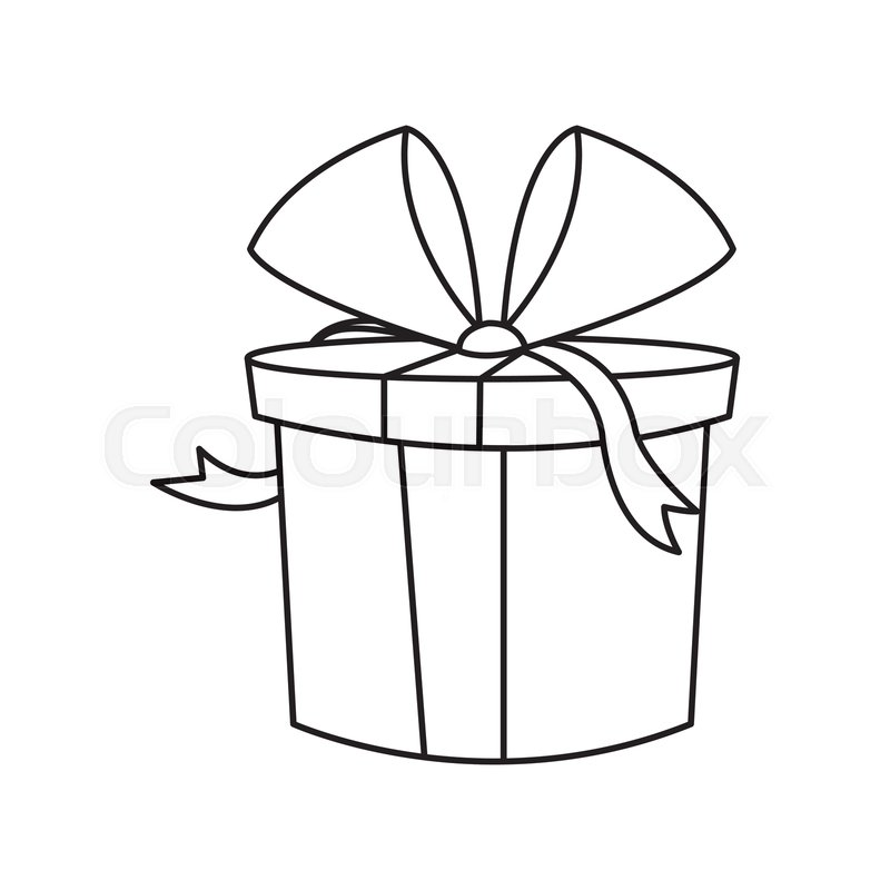 Christmas Gift Box Drawing.Christmas Gift Box Wrapped Bow Outline Stock Vector