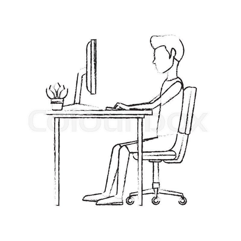 Superb Man Character Sitting Working Desk Stock Vector Creativecarmelina Interior Chair Design Creativecarmelinacom