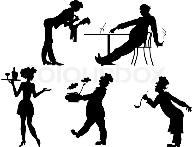 Restaurant Background With People silhouettes of people the restaurant business | stock vector