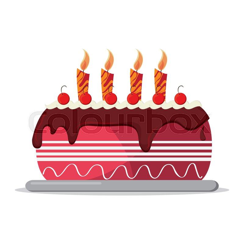 Excellent Flat Design Birthday Cake Icon Vector Stock Vector Colourbox Funny Birthday Cards Online Kookostrdamsfinfo