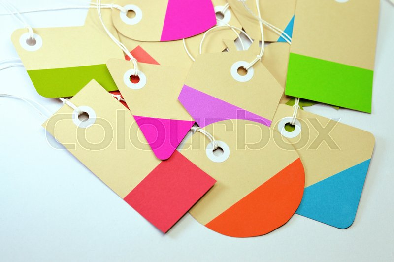 Paper tag on white background, ideal for your shopping projects or business topics, stock photo