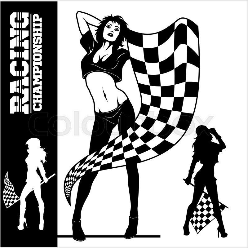 Street Racing. Sexy sport girls with starting the checkered flags. Auto Motor Racing - black vector illustraton isolated on white, vector