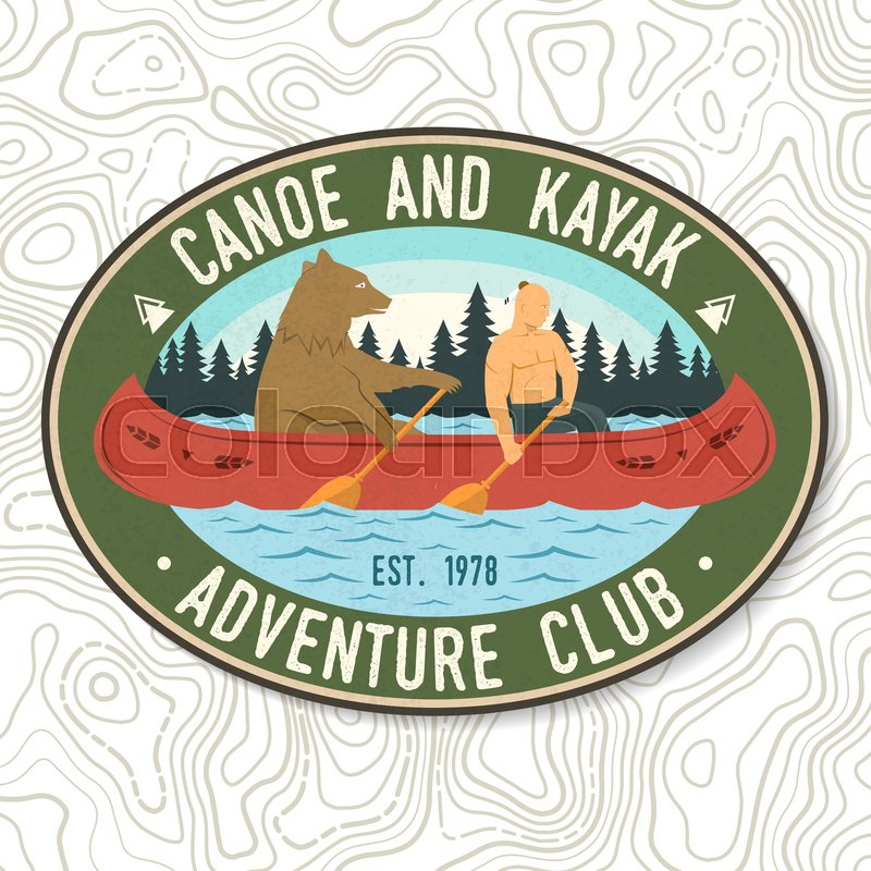 Canoe and Kayak club. Vector. Concept for shirt, print, stamp or tee. Vintage typography design with kayaker and bear silhouette. Extreme water sport. Outdoor ..., vector