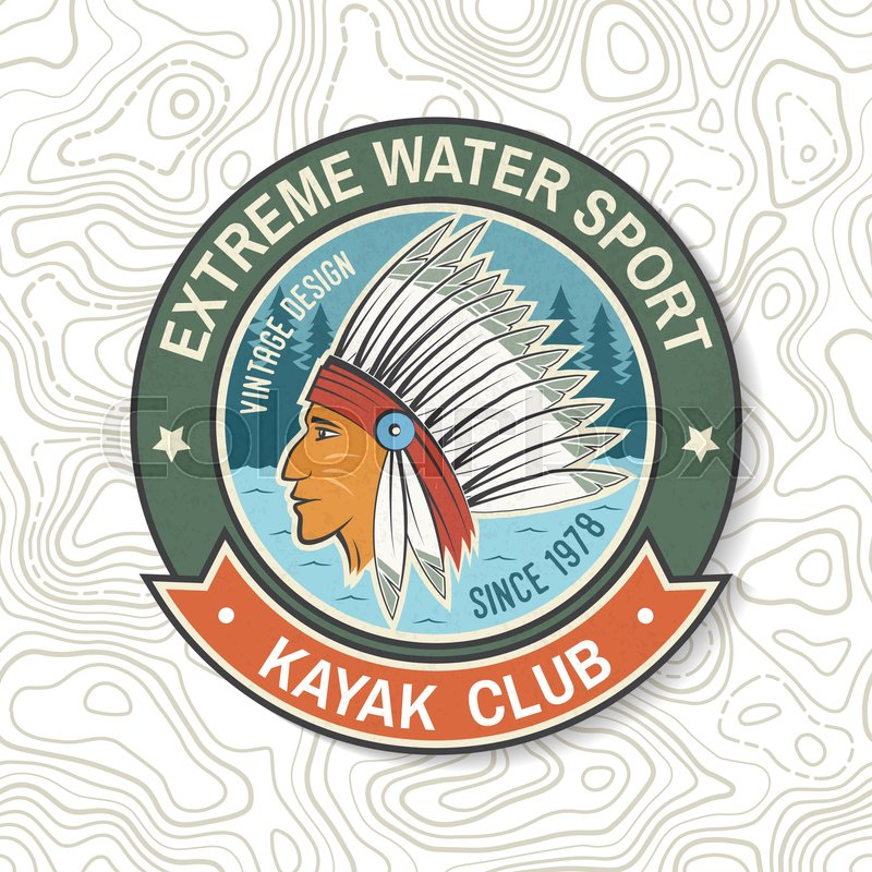 Kayak club. Vector. Concept for patch, badge, shirt, print, stamp or tee. Vintage typography design with american indian silhouette. Extreme water sport. Outdoor ..., vector