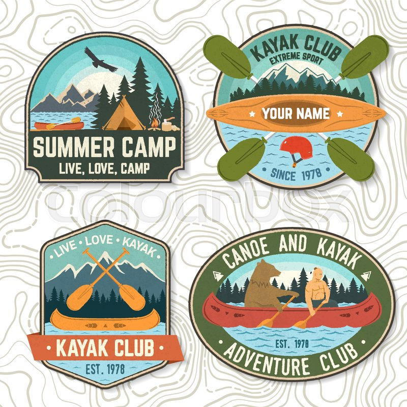 Set of canoe and kayak club badges Vector. Concept for patch, shirt, print, stamp or tee. Vintage design with mountain, river, american indian and kayaker ..., vector