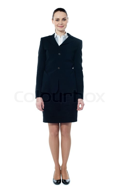 businesswoman full body standing isolated on white stock photo