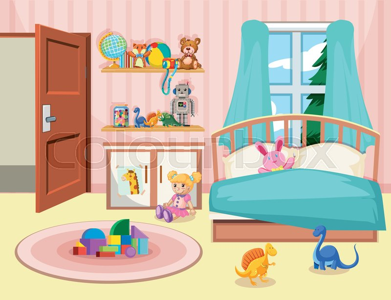 A Kid Bedroom Background Illustration Stock Vector Colourbox
