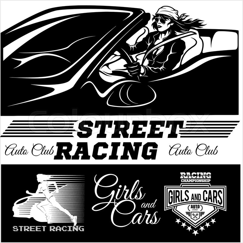 Street Racing. Sport girl with starting the checkered flag. Auto Motor Racing - vector illustration, vector