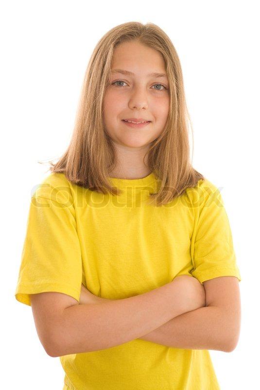 nice girl stand stock photo colourbox