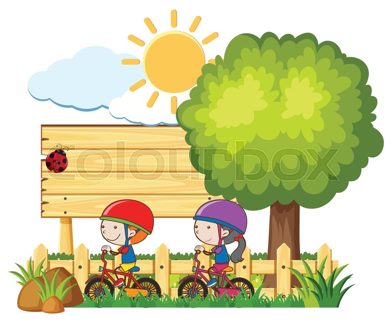 Kids Riding Bicycle In Sunny Day Stock Vector Colourbox