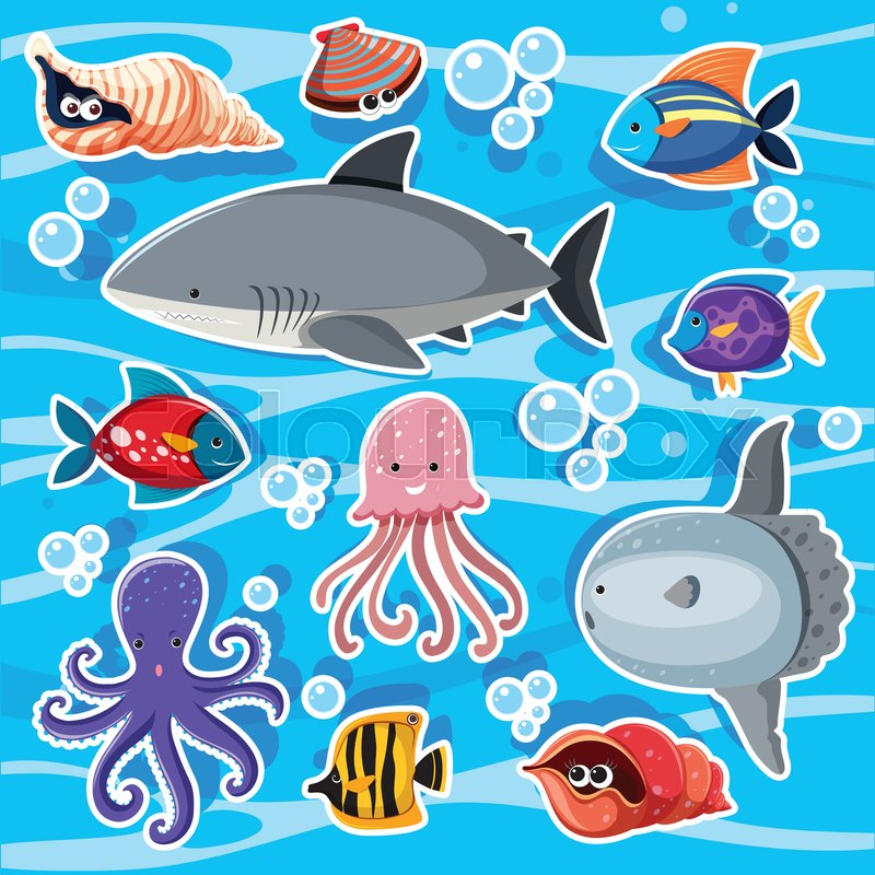 Sticker templates with sea animals underwater illustration, vector
