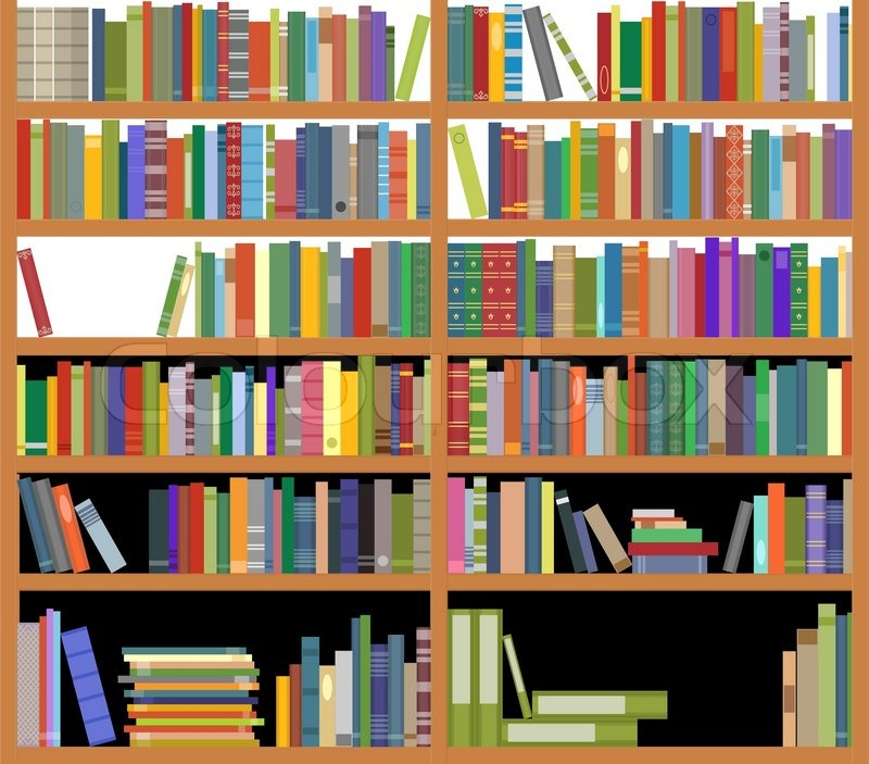 bookshelf with books stock vector colourbox