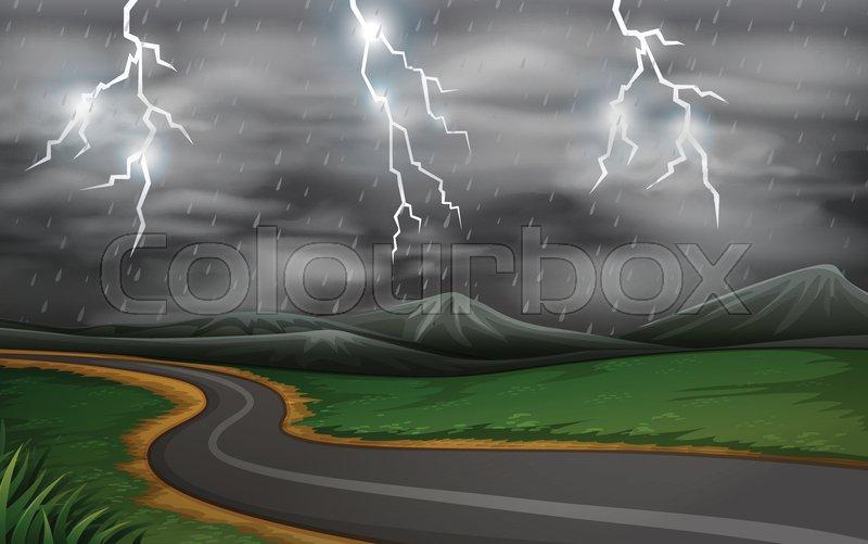 A thunderstorm road scene illustration, vector