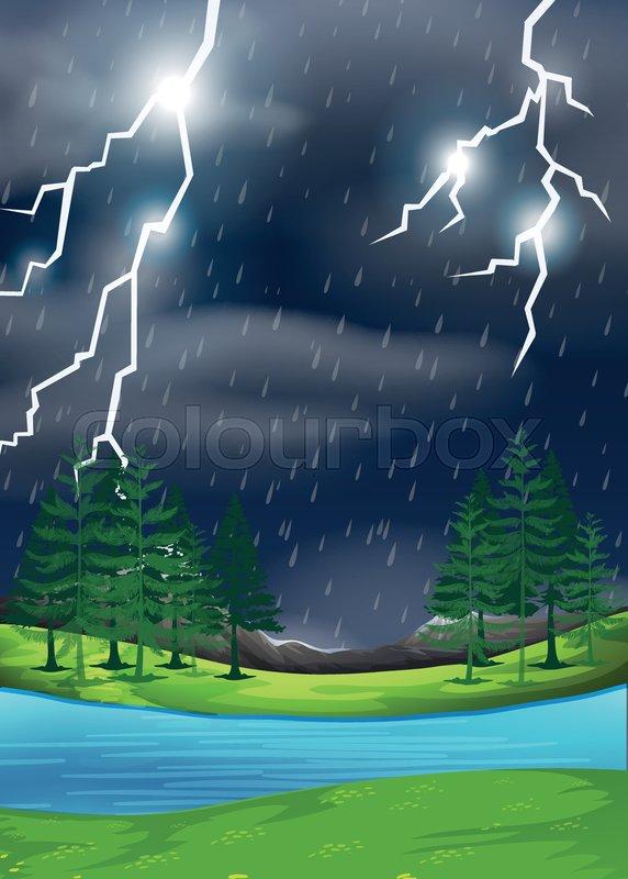 A thunderstorm in nature scene illustration, vector