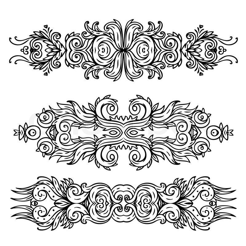 Set Of Black Flower Design Elements Stock Vector: Set Of Vintage Floral Design Elements
