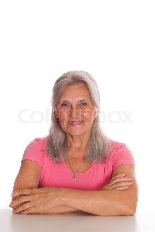 Beautiful Older Woman On A White Background  Stock Photo -9750