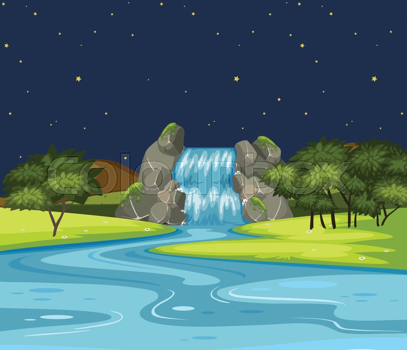 Nature waterfall landscape at night illustration, vector