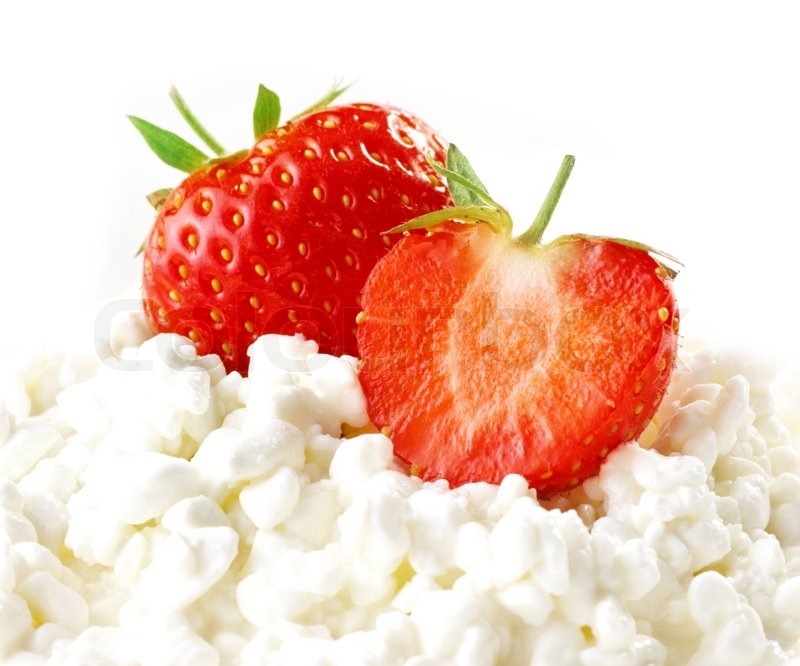Strawberres and cottage cheese, stock photo