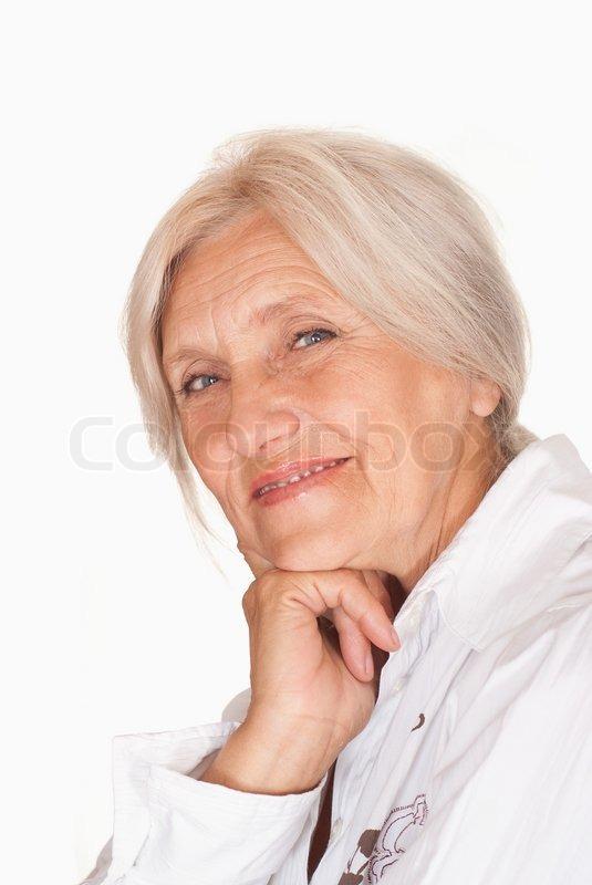 Beautiful Older Woman On A White  Stock Photo  Colourbox-7245