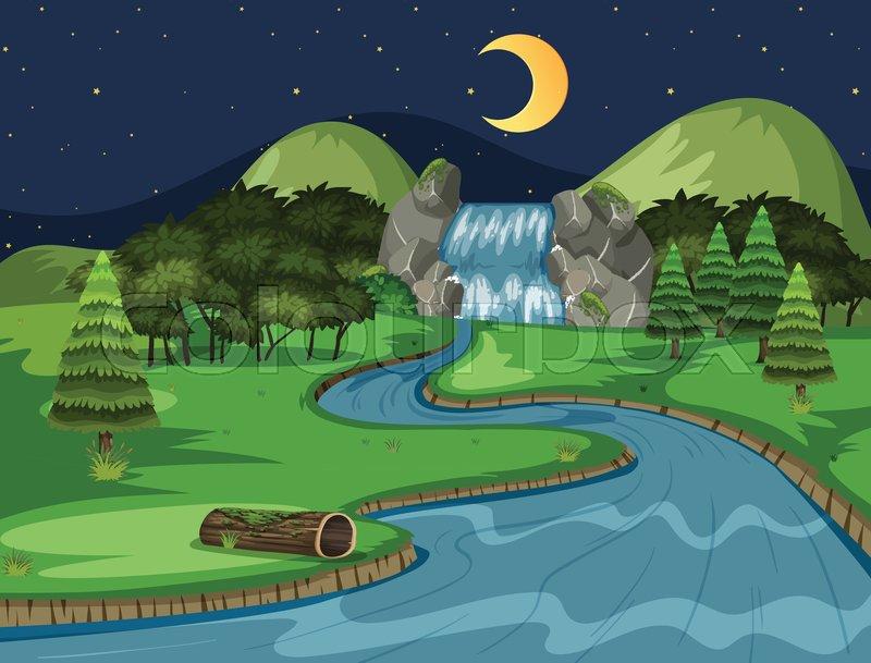 A natural waterfall landscape at night illustration, vector