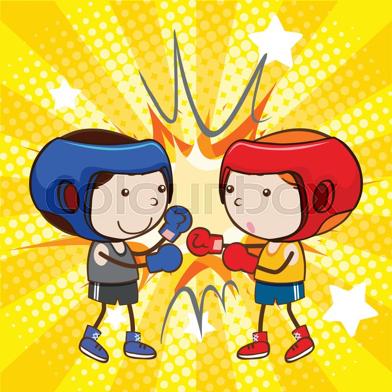 A Boxing Fight On Comic Background Stock Vector Colourbox