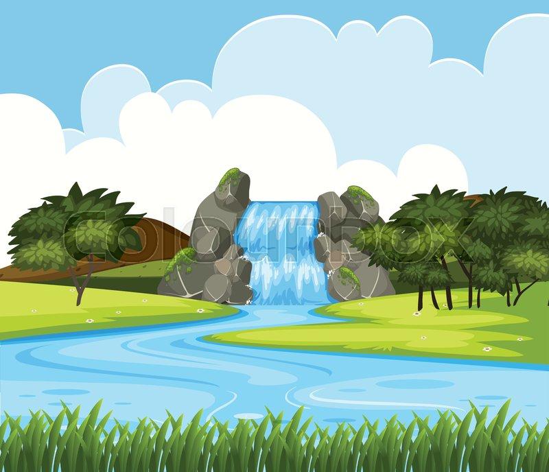 A beautiful waterfall landscape illustration, vector