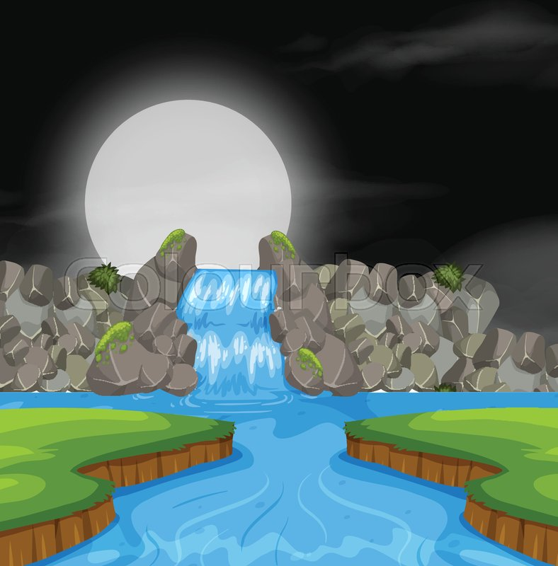 Waterfall landscape at night illustration, vector