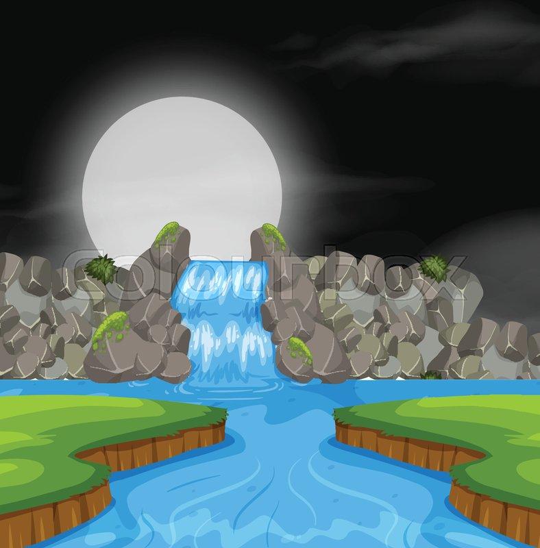 Waterfall landscape at night illustration, vector