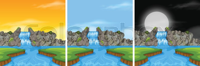 Waterfall landscape in diffrent time illustration, vector