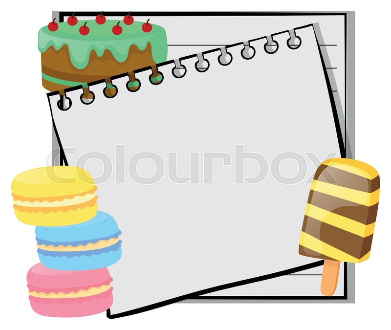 Frame Template With Cake And Icecream Stock Vector