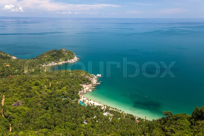 Bird eye view to a tropical beach. Koh Phangan, Thailand, stock photo