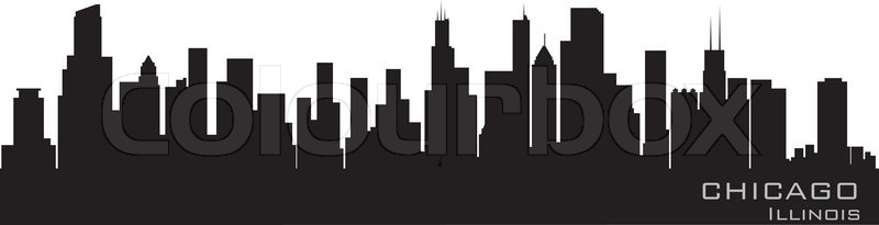 chicago illinois skyline detailed vector silhouette stock vector