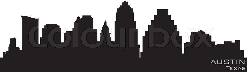 Tower Credit Union >> Austin, Texas skyline Detailed vector silhouette | Stock ...