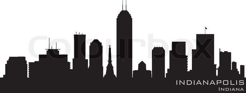 Indianapolis Indiana Skyline Detailed Vector Silhouette