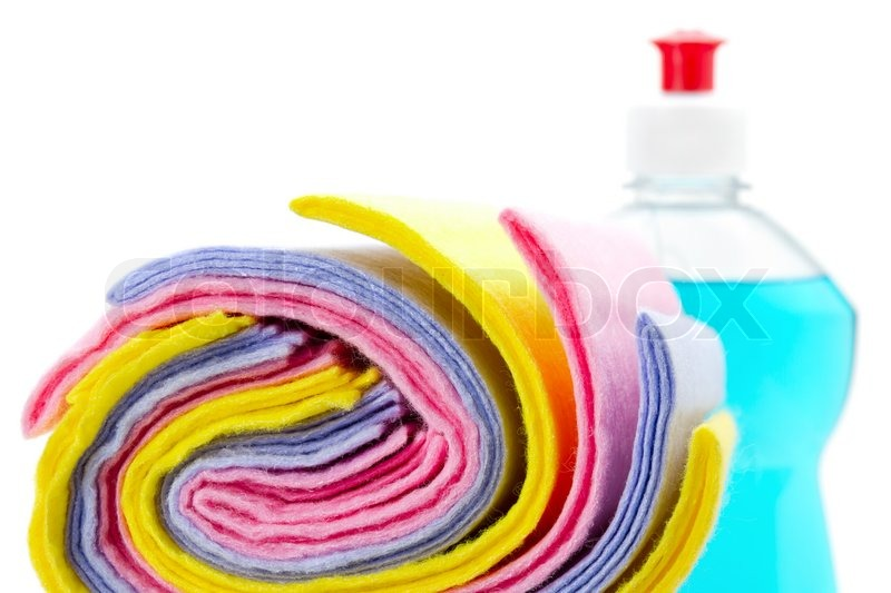 Stock image of 'Cleaning rag with bottle dish washing liquid'
