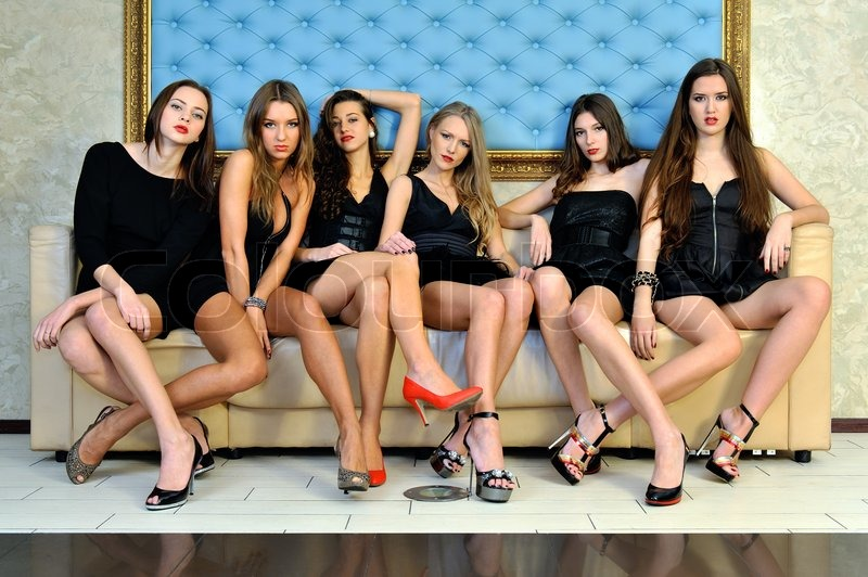 Stock image of 'Six beautiful sexy models in the hotel.'