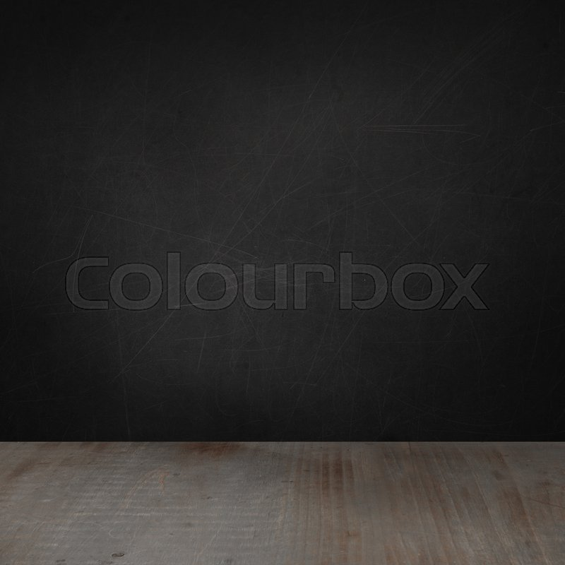 Blackboard wall and wooden floor background for advertising marketing and product placement, stock photo