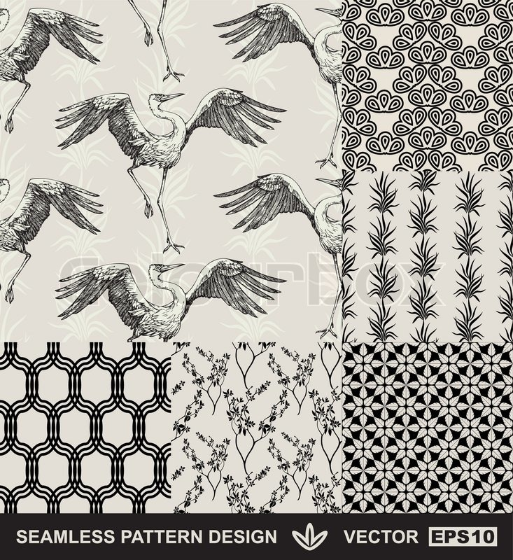 abstract backgrounds set mode nahtlose muster vektor wallpaper vintage und monochrome. Black Bedroom Furniture Sets. Home Design Ideas