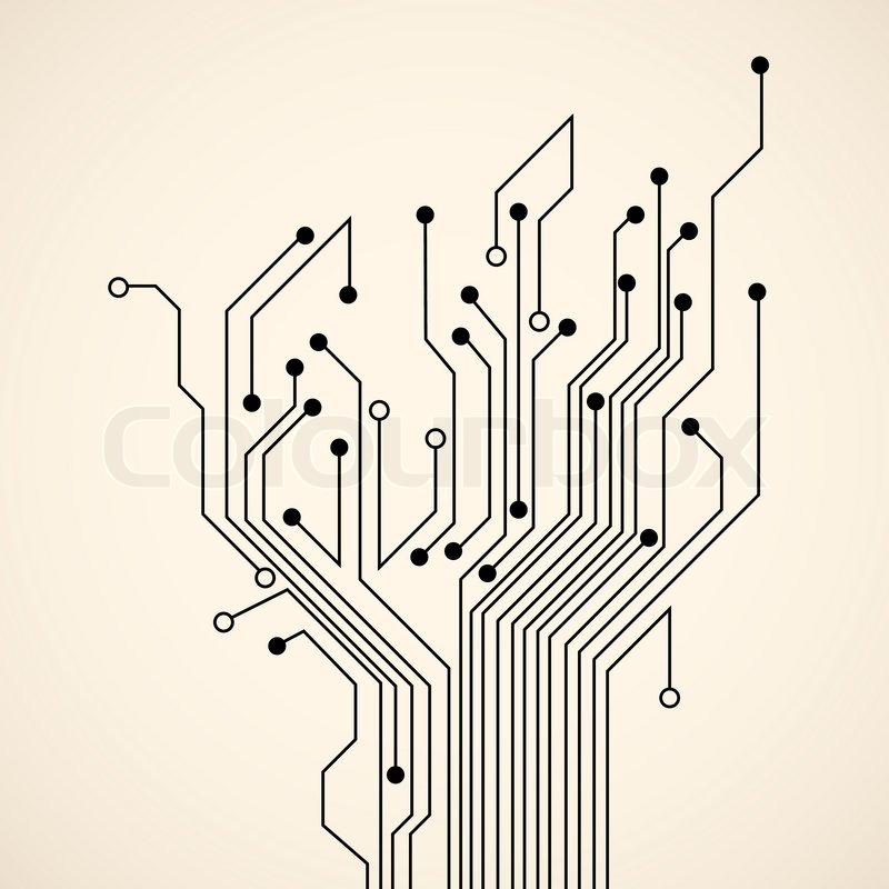 abstract circuit tree stock vector colourbox
