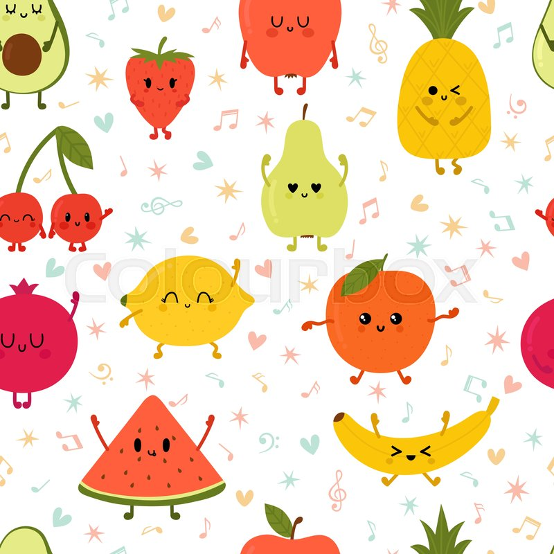 Seamless Pattern Wiyh Dancing Fruits Stock Vector Colourbox