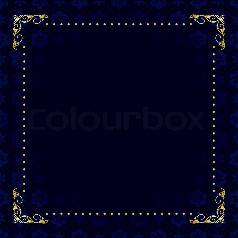vector dark blue card with gold frame stock vector colourbox
