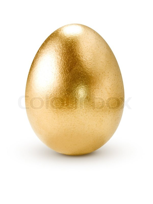 Golden egg isolated on white background  Stock Photo